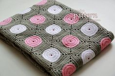 This is a PDF PATTERN for crocheted Polka Dot Blanket. The blanket shown in this pattern has a size of a baby/lap blanket (measuring about 40.5 x