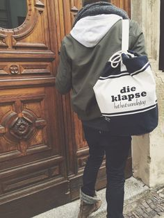 """Rucksack, Seesack mit Spruch """"Wandertag"""" / fun words on a backpack, typo by The Essence of Hass via DaWanda.com"""