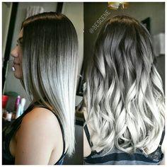 Best Fresh Hair Color Ideas for Dark Hair - Hair Color White Ombre Hair, Silver Grey Hair, Black White Hair, Black Ombre, Hair Color Dark, Dark Hair, Metallic Hair Color, Blue Hair, Pelo Color Gris