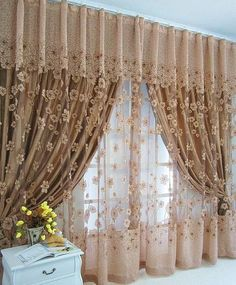 Curtains And Draperies, Luxury Curtains, Elegant Curtains, Beautiful Curtains, Home Curtains, Curtains Living, Beaded Curtains, Window Curtain Designs, Curtain Styles