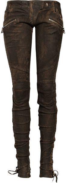 Balmain geschnürte Lederhose in Braun Look Fashion, Autumn Fashion, Womens Fashion, Street Fashion, Trendy Fashion, Steampunk Mode, Steampunk Pants, Casual Steampunk, Mode Style
