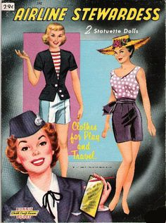 Airline Stewardess Paper Doll and clothes @ http://www.free-paper-dolls.com/AirlineStewardessPaperDoll.html