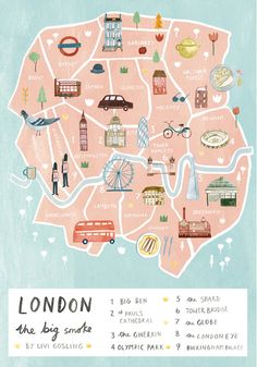 Illustrated map of London by Livi Gosling #art #etsy