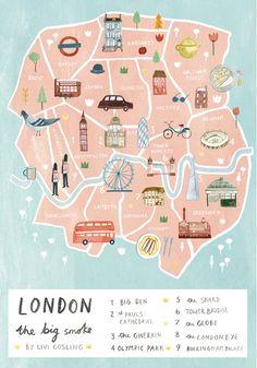 Illustrated map of London by Livi Gosling #art #etsy