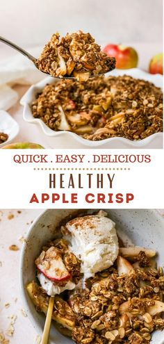 This easy Apple Crisp recipe with oats is made healthy and naturally sweetened with maple syrup and is made with tender juicy apples and buttery oatmeal topping! You'll be making this gluten free apple crisp all season long! It's simple to make and always gets rave reviews! #glutenfree #applecrisp #appledessert #vegan #healthy