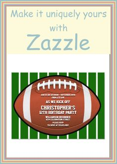 Shop Child's Football Birthday Party Invitation created by Personalize it with photos & text or purchase as is! Football Theme Birthday, Football Themes, Sports Birthday, Adult Birthday Party, Sports Party, 12th Birthday, Birthday Party Themes, Custom Invitations, Birthday Party Invitations