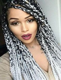 Grey And Black Box Braids Picture pin on debos world Grey And Black Box Braids. Here is Grey And Black Box Braids Picture for you. Grey And Black Box Braids grey and black box braids geflochtene haare zo Grey Box Braids, Ombre Box Braids, Blonde Box Braids, Short Box Braids, Jumbo Box Braids, White Girl With Braids, Purple Box Braids, Try On Hairstyles, Twist Braid Hairstyles