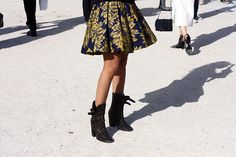 In love with this skirt and boot combo. I'm dying for the ankle boot versions of these.