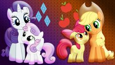 Rarity with Sweetie Belle and Applejack with Apple Bloom
