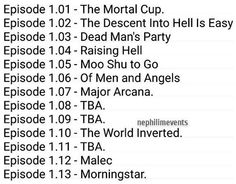 #Shadowhunters episode titles. 2, 3, 4, 5 are to be confirmed. Information credit: SpoilerTV.
