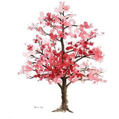 Cherry blossom Original watercolor painting, The Cherry bloossom Tree,... ❤ liked on Polyvore featuring home, home decor, wall art, pink flamingo wall art, cherry blossom tree, water color tree, watercolour painting and tree wall art