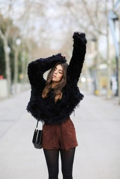 Fall Looks : Picture Description Sweater: dulceida blogger shorts suede brown fuzzy black fluffy winter outfits suede shorts brown - #Fall https://looks.tn/season/fall/fall-looks-sweater-dulceida-blogger-shorts-suede-brown-fuzzy-black-fluffy-winter-outfits-s/