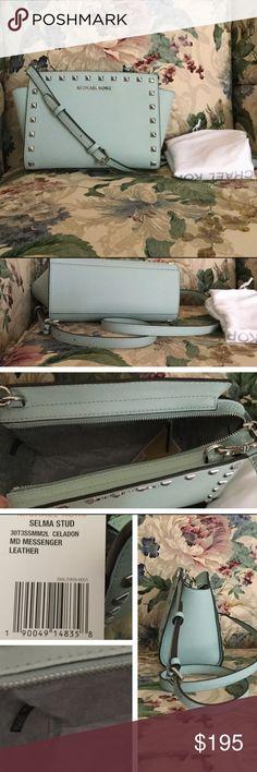 MK Selma Stud Messenger. NWT. Color Celadon / Silver hardware. Michael Kors Bags Crossbody Bags