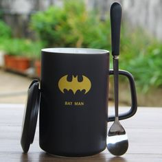 Cartoon Batman Ceramic Cup Lovely Milk Cup Breakfast Cup Cups Mug With Lid and Spoon -- Awesome products selected by Anna Churchill