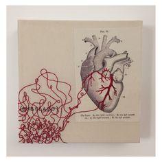 Bordado sobre livro - Manitu Estúdio Art Journal Pages, Drawing Journal, Bullet Journal Art, Art Sketchbook, Kunstjournal Inspiration, Art Journal Inspiration, Art Inspo, Arte Com Grey's Anatomy, Anatomy Art