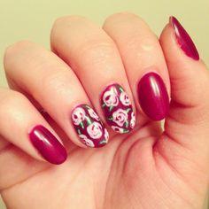 Purple rose floral nails