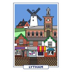 Features of Lytham - a high quality print reproduction of an original artwork from the Seaside Emporium