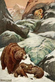 'A mountain cave which no man has ever seen'. Frank Cheyne Pape illustration from 'The Russian Story Book' (1916).