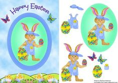 Cool Bunny for Easter on Craftsuprint designed by Barbara Alderson - step by step decoupage on a card front - Now available for download!