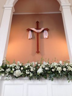 Church Wedding Decorations - Baptistry - Floral Arrangements - Large - Flowers for Church - Wedding Ideas - Wedding Inspiration - White and Green - Classic Wedding - Traditional Wedding - Southern Wedding Inspire - Knoxville TN Florist - Lisa Foster Floral Design - Www.lisafosterdesign.com