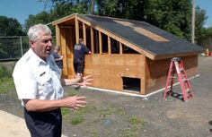 Danbury Fire Chief Geoffrey Herald, talks about the new roof training device that was built to help teach firefighters about fire safety at the Danbury training facility July 27, 2010.