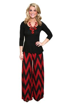 Red-y For Anything Chevron Pants