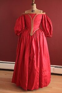 17th century Cavalier red silk dress bodice skirt costume (found on ebay)