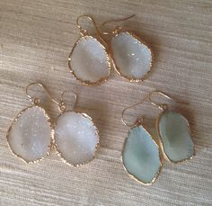 Druzy Earrings  Pink Pale Green Gray with Gold by trebelladallas, $78.00