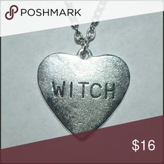 ✴ ❤ WITCH Heart Necklace ❤ ✴ CUTE!!!! 💜 A silver metal heart-shaped charm with the word WITCH engraved. Brand New Without Tag - comes on a silver chain  // tags: alternative witchy wicca magic spell hearts jewelry charms spells gothic goth kawaii punk rebel new nwot bnwot awesome cool neat unique statement love words engraving rock amazing necklaces solid badass wicked freak freaky oddities odd oddity freak creepy creep unisex supreme ahs boo dark spooky scary halloween pendants pendant…