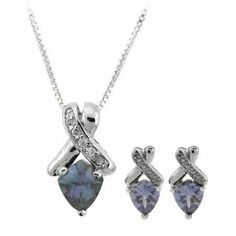 Sterling Silver Tanzanite & White CZ Twist Pendant and Earrings Set SilverSpeck. Save 45 Off!. $29.99