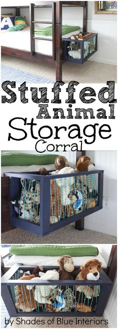 Stuffed Animal Storage Corral - hooks onto footboard for easy accessibility without occupying much space. Holds a ton of toys!