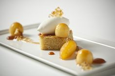 Olive Oil Cake with Caramelized Granny Smith Apple and Mascarpone.