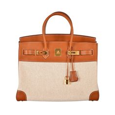 HERMES BIRKIN BAG 35 CM 2 TONE BARENIA WITH TOILE INSANE GHW