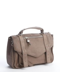 Sondra Roberts taupe grained leather convertible satchel