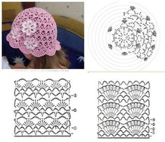 This Pin was discovered by moh Childrens Crochet Hats, Crochet Kids Hats, Baby Hats Knitting, Crochet Beanie, Knitted Hats, Booties Crochet, Crochet Baby Bonnet, Crochet Baby Dress Pattern, Crochet Diagram