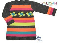 Vestido de punto tricotosa flores