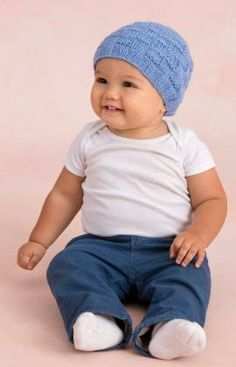 Strickmuster für Baby Mütze im Korbmuster