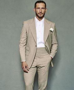 cebe4bb5dc3 2018 Summer Beach Men Suits Beige Linen Peaked Lapel Custom Made Slim Fit Wedding  Suits Bridegroom Best Man Prom Party Tuxedos Blazer Tailcoat White Suits ...