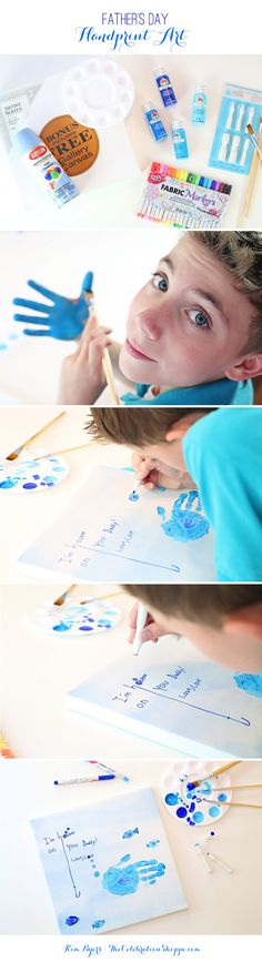 Father's Day Gift Idea - Father's Day Handprint Art – Hooked on You Dad!  @joannstores