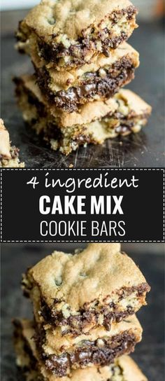 4 ingredient cake mix cookie bars - these are always a hit! 4 ingredient cake mix cookie bars – these are always a hit! 4 ingredient cake mix cookie bars – these are always a hit! Cake Mix Desserts, Easy To Make Desserts, Easy Cookie Recipes, Köstliche Desserts, Recipes Using Cake Mix, Recipe With Cake Mix, Homemade Cookie Cakes, Brownie Mix Recipes, Easy Cakes To Make