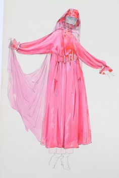 Lucile studio designs, circa 1911-20; bright pink raincoat with pink veiled hat;
