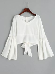 Shop Flute Sleeve Open Back Bow Tie Blouse online. ROMWE offers Flute Sleeve Open Back Bow Tie Blouse & more to fit your fashionable needs. Cute Blouses, Blouses For Women, Blouse Styles, Blouse Designs, Bow Tie Blouse, Trendy Fashion, Fashion Outfits, Feminine Fashion, Bell Sleeve Blouse