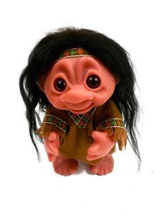 HIPPIE Thomas DAM TROLL // Norwegian troll /// 1977 // real hair // 9 inches tall