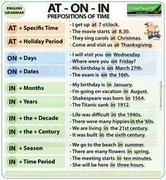 Prepositions of Time At On In English Grammar Notes – Preposiciones de Tiempo en… Prepositions of Time At On In English Grammar Notes – Prepositions of Time in English English Grammar Notes, Teaching English Grammar, English Phrases, English Language Learning, English Writing, English Study, Teaching Spanish, Spanish Language, French Language