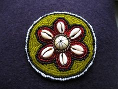 Beaded ethnic Cowrie Shell Tribal medallion, Tribal ATS accessiories by TribalHandmade on Etsy