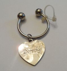 Personalized Engraved Traditional Silvertone Heart Charm Key Ring Name Dorothy | eBay
