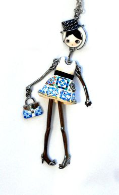 The Girl from LISBON Portugal Antique Azulejo Tile by Atrio