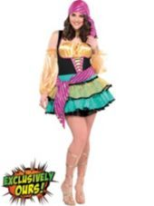 Women's Plus Size Mystical Gypsy Costume with Waist Sash - Halloween City