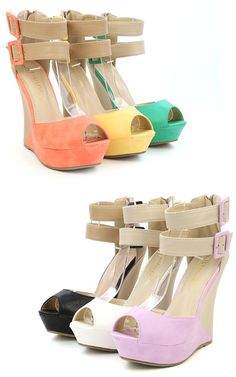 Monaco3 Two Tone Double Strap Wedge Heels LILAC