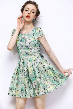 Morpheus Boutique  - Green Gauze Floral Cap Sleeve Hem Pleated Dress